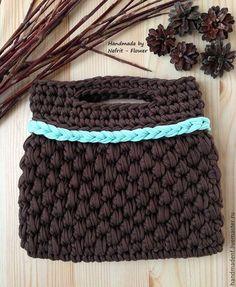 """Купить Вязаная сумка """"Шоколад и мята"""" - коричневый, мятный, Вязание крючком, вязаный клатч"""