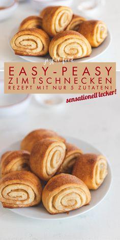 Zimtschnecken Rezept: super einfach mit nur 5 Zutaten. Fluffiger Hefeteig mit herrlich Zimt. Das süße Gebäck ist in nur einer halben Stunde zubereitet. Perfekt zum Kaffee, Brunch oder als Snack zwischendurch. #Zimtschnecken #schwedisch #Ikea #Hefeschnecken #Gebäck #Brunch Brunch, Super Simple, Rezepte, Brunch Party