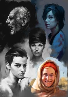 Face Studies 4 by Aaron Griffin on ArtStation. Digital Portrait, Portrait Art, Digital Art, Aaron Griffin, Character Art, Character Design, Character Costumes, Face Study, Portrait Sketches