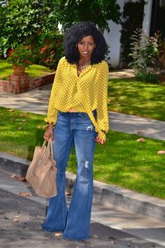 Style Pantry | Polka Dot Pussy Bow Blouse + Distressed Bell Bottoms