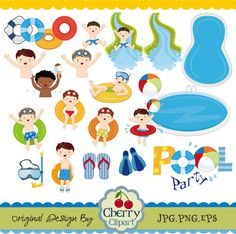 Pool Party Swim Boys Digital Clipart Set Personal by Cherryclipart