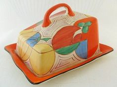 Superb Art Deco Clarice Cliff Melons Pattern Cheese Dish