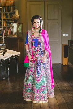 Pink Blue Gold Green Lehenga Bride Bridal Indian Glamour English Countryside Chic Wedding http://www.jayrowden.com/