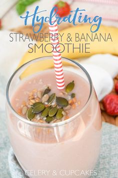 Hydrating Strawberry & Banana Smoothie - If your needing to cool down in the summer heat, try this delicious fruit smoothie recipe made with only 4 ingredients.