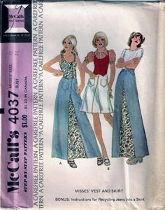 Vintage 70s Skirt & Vest Sewing Pattern McCall's 4037 B34 Size 12