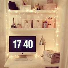 Love this study area, can't fit one I don't think but obviously want fairy lights everywhere.