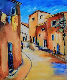 Village Street in Tuscany by Elise Palmigiani