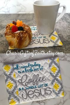 What a great way to start your day! This Coffee and Jesus mug rug is the perfect inspirational gift for your Christian friend, co-worker, or neighborhood coffee group. But its so pretty you may want to keep it for yourself! It's just the thing to put a smile on your face even BEFORE you've had your first cup of java or that mid-morning snack! #Jesusmugrug #allIneedtoday #yellowandgraymugrug #Christiangiftidea #birthdaygift Christian Friends, Christian Gifts For Women, Gift Of Faith, Embroidered Gifts, Coffee Lover Gifts, Mug Rugs, Inspirational Gifts, Hostess Gifts, Birthday Gifts