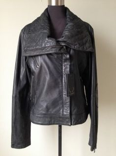 Save 73% Bod & Christensen Leather Coat XL  Gorgeous soft black leather coat with quilted collar and elbow patches.  3 front zip pockets and zipped cuffs.  Size:  XL New with tags Original Retail:  $750 + tax Our Price:  $225