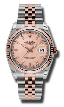 Rolex Datejust Champagne Dial Automatic Pink Gold and Steel Mens Watch 116231CSJ 36mm 9700
