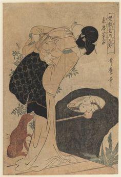Woman and Child, 1803 by Kitagawa Utamaro. Ukiyo-e. genre painting. Brooklyn Museum, New York City, NY, US