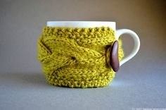 Knitted Cup Cozy in Chartreuse Green Coffee Mug by natalya1905