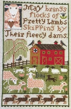 completed cross stitch Prairie Schooler Spring MAY large sampler