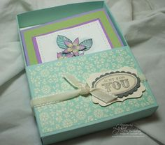 simply scored one sheet gift box. Made with Stampin Up supplies.