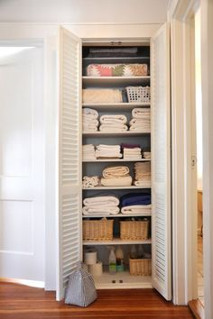 Live with less... i need to purge my linen closet- i could probably use the smaller one and take the bigger one and make an office!