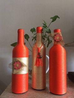 Trio  garrafas decorada feita com barbante