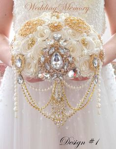 Golden jeweled ivory pearl cascading brooch bouquet for Gatsby style wedding. Made of high quality brooches and handmade roses of ivory color, also can be made of silver brooches and white roses or any different color you need, to match the style of your wedding.  It can be made in different sizes (bottom diameter) You can select the size you need when place the order. Producing time is 2-3 weeks, for rush orders at first please contact me.  This stunning bouquet can be completed with oher…