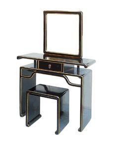 $1280 Black Lacquer Make-up Mirror Table Set - Golden Lotus Antiques