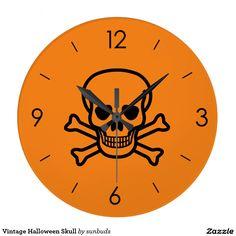 Vintage Halloween Skull Large Clock