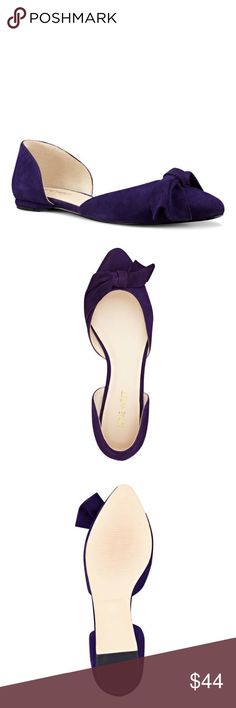 """NWT Nine West DK PURPLE SUEDE Padded insole for all-day comfortSuede upperMan-made lining and sole1/4"""" heelPointy toeImported Nine West Shoes Flats & Loafers"""