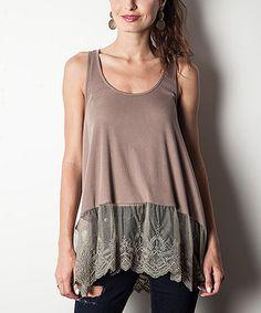 Look what I found on #zulily! Mocha Lace-Trim Sleeveless Tunic #zulilyfinds