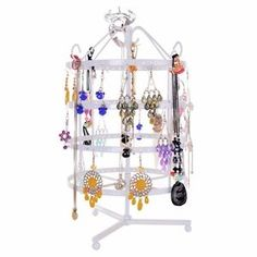 Jewelry Display Rack Earring Necklace Hanger Table Top Rotating Stand Organizer