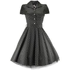 Vintage Style Black Polka Dot Swing Pinup Dress