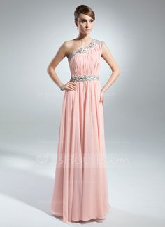 Holiday Dresses - $136.99 - A-Line/Princess One-Shoulder Floor-Length Chiffon Holiday Dress With Ruffle Beading (020025844) http://jjshouse.com/A-Line-Princess-One-Shoulder-Floor-Length-Chiffon-Holiday-Dress-With-Ruffle-Beading-020025844-g25844
