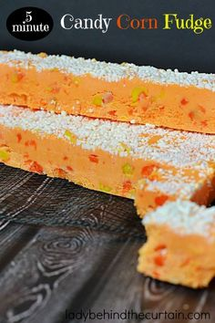 5 Minute Candy Corn Fudge - chunks of soft and chewy marshmallow candy corn sprinkled throughout : ladybehindthecurtain Delicious Fudge Recipe, Fudge Recipes, Frosting Recipes, Candy Recipes, Fudge Flavors, Fun Easy Recipes, Best Dessert Recipes, Cookbook Recipes, Fall Recipes