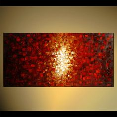 "48"" x 24"" Large Acrylic Painting Original Abstract Modern Art Red Ready to Hang Frame Fine Original Art by Osnat - MADE-TO-ORDER"