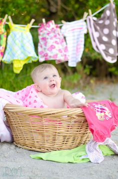 Laundry Time :)  LOVE this idea of capturing some of your little ones cute outfits in a photo - reminds me of Ryela's Tutu photos!