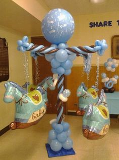 Carousel Balloon Pillar Baby Shower Room Design Available in the DC Metro area… Shower Party, Baby Shower Parties, Baby Shower Themes, Baby Boy Shower, Baby Shower Gifts, Baby Showers, Shower Ideas, Balloon Arrangements, Balloon Centerpieces