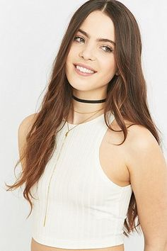 Black Suede Choker and Lariat Necklace - Urban Outfitters