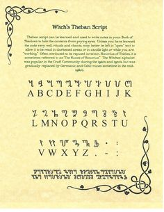 Book of Shadows Spell Pages ** Theban alphabet ** Wicca Witchcraft BOS FOR SALE • $3.96 • See Photos! Money Back Guarantee. Theban was created to hide secrets. Translate your deepest secrets into theban to hide them from prying eyes. This page shows to one-to-one correspondence from Latin to Theban. At the 262144082022