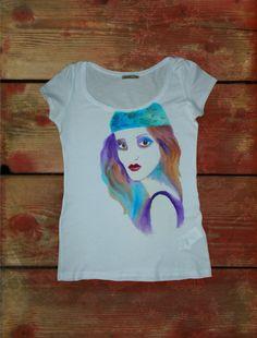 Hand painted t-shirt Fashion illustrator. от LeRuGallery на Etsy
