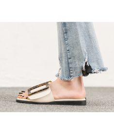 5a8a18ba96d AnnaKastle Womens Square Buckle Flat Slide Sandals Ivory Slide Sandals