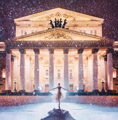 Girl in a Beautiful Aerial Dress in Bolshoi Theatre, Moscow, Russia, Captured by Kristina Makeeva. Moscow Winter, Bolshoi Theatre, Russian Ballet, Artistic Photography, Winter Photography, Photography Ideas, Fashion Photography, Beautiful Landscapes, Landscape Design