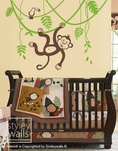 Jungle Monkey Swinging on a Vine and Cute Toucan -LARGE Vinyl Wall Decal for Kids Nursery