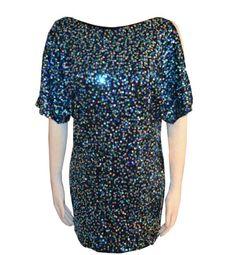 Aqua Dress Sequined Blue Mini Dress Size 0
