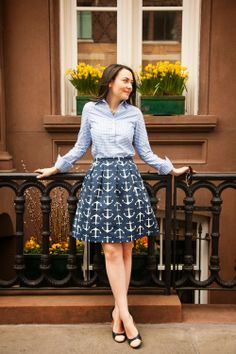 #Tuckernucking by Carly Heitlinger of The College Prepster, featuring Tuckernuck Boast Gingham Shirt, Tuckernuck Just Madras Anchor Skirt, and J. Crew cap-toe heels.