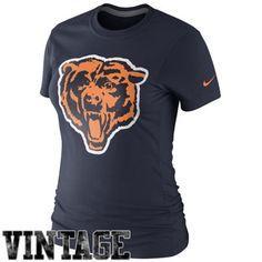 Nike Chicago Bears Ladies Retro Basic Logo T-Shirt - Navy Blue