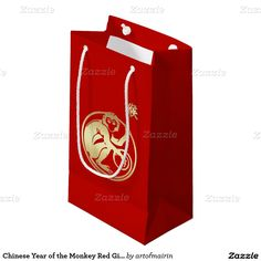 Elegant Festive Design 2016 Chinese Year of the Monkey Red Gift Bags. Matching cards, postage stamps and other products available in the Chinese New Year / Year of the Monkey Category of the artofmairin store at zazzle.com
