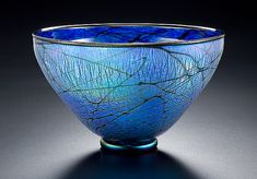 Blue+Lustre+Bowl by David+Lindsay: Art+Glass+Bowl available at www.artfulhome.com