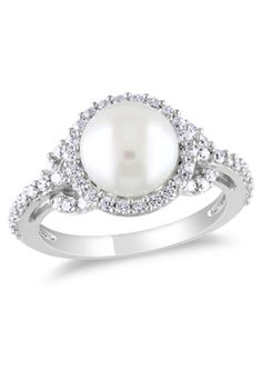 Sterling Silver CZ and Freshwater Pearl Ring ♥✤ | Keep the Glamour | BeStayBeautiful