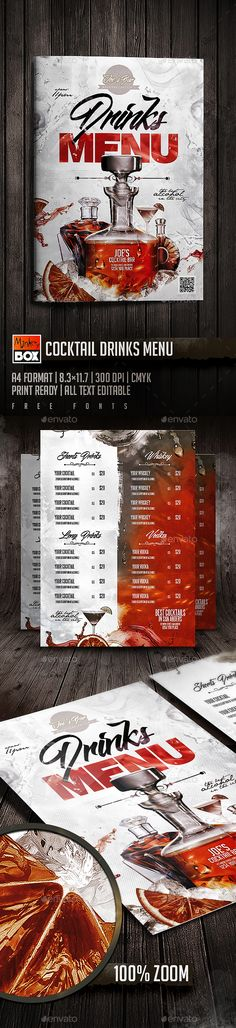 Drinks Menu by MonkeyBOX Cocktail Drinks Menu: Format Resturant Menu, Restaurant Poster, Restaurant Menu Design, Restaurant Concept, Restaurant Food, Menu Cocktail, Vodka Cocktail, Menu Bar, Menu Flyer
