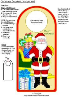 Christmas Door, Christmas Crafts, Christmas Decorations, Christmas Ideas, Xmas, Doorknob Hangers, Door Knobs, Free Christmas Printables, Templates Printable Free