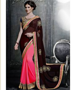 Buy Bewitching Pink & Brown Georgette Sarees online at  https://www.a1designerwear.com/bewitching-pink-brown-georgette-sarees  Price: $74.75 USD