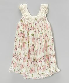 Another great find on #zulily! White Floral Pleated Swing Dress - Infant, Toddler & Girls by Blossom Couture #zulilyfinds