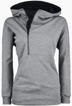 Grey hoodie with inside black side zipper for fall