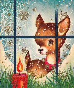 vintage Christmas fawn looking in window